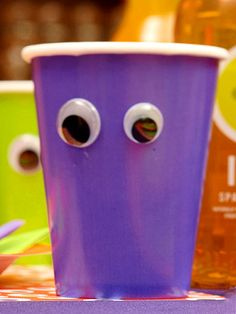 Instantly bring kids-size paper cups to life by gluing on plastic googly eyes.