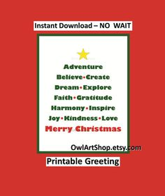 Merry Christmas greeting with Inspirational words di OwlArtShop