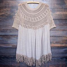desert wanderer knit tunic , mocha - shophearts - 1