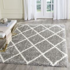 Shop for Safavieh Montreal Diamond Shag Grey/ Ivory Rug (10' x 14'). Get free shipping at Overstock.com - Your Online Home Decor Outlet Store! Get 5% in rewards with Club O! - 19448658
