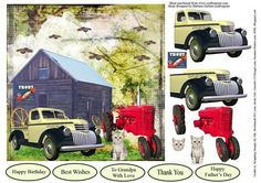 Grandpa s Old Farm Card Topper Decoupage on Craftsuprint designed by Barbara Hiebert - On this card topper there is an old log building, with an old tractor, and pickup truck, kitten and sign for decoupage,When you add the layers for this topper, the kitten is the last layer to add, because it overlaps the tractor tire, - Now available for download!