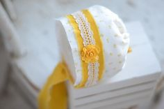 Newborn Bonnet - Baby Bonnet - Yellow Bonnet - Floral Bonnet - Baby Hat - Newborn Photo Prop - Allie. $26.00, via Etsy.