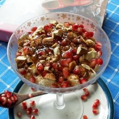 Greek yogurt with honey, cinnamon, pecans and pomegranate, another wonderful combination by Tessa Kiros that fits snuggly for Fall!