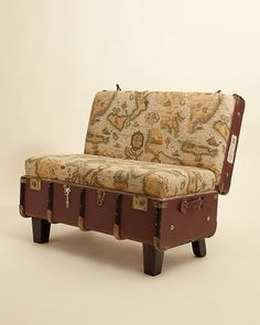 Old trunk love seat and other DIYs for suitcases and trunks. Could use our black trunks on sale at level! Old Trunks, Vintage Trunks, Repurposed Furniture, Diy Furniture, Plywood Furniture, Modern Furniture, Furniture Design, Suitcase Chair, Deco Dyi