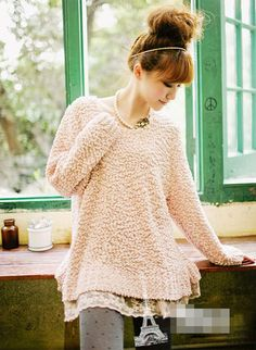 lace peeking out from under a sweater.  Patterned tights.  Great ideas!