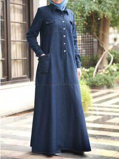 Modest Islamic Clothing on Sale Modest Islamic Clothing on Sale Modest Maxi Dress, Denim Maxi Dress, Hijab Dress, Queen Style, Denim Abaya, Abaya Designs, Muslim Dress, Islamic Clothing, Hijab Chic