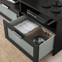 BRIMNES TV storage combination, black, 101 When it's organized by the TV it's easier to indulge in your favorite TV series. Keep your games, controls and accessories in the large drawers and feed the cords through the outlets in the back. Tv Storage Unit, Media Storage, Smart Storage, Lp Storage, Record Storage, Brimnes, Glass Cabinet Doors, Glass Shelves, Glass Doors