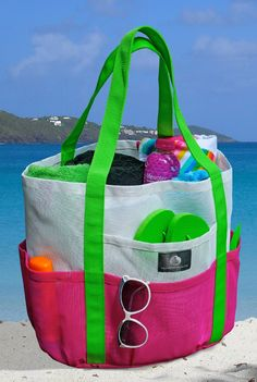 Saltwater Canvas_Mesh Family Beach Tote - White & Hot Pink w black Carabiner Hook_$38_5stars_  puffed out pockets around whole bag, meshed material for easy cleaning_15 x 15 x 15 inches