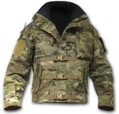 Offering a wide range of features, the Kitanica Mark I Multicam is a tactical jacket with the latest camouflage pattern. Tactical Wear, Tactical Jacket, Tactical Clothing, Tactical Gear Canada, Outdoor Outfit, Outdoor Gear, Survival Clothing, Combat Gear, Tac Gear