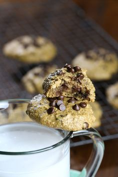 These Vegan Pumpkin Pie Chocolate Chip Cookies are so fudgy, moist, gluten-free, dairy-free and oil-free. They are just 7 ingredients and take just a few minutes to prepare. Pumpkin, lots of pumpkin pie spice, almond butter and chocolate chips. There isn't really much more to say is there? Now these cookies have a little story to them. I already have this