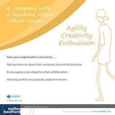 A company with a Sunshine Yellow culture values... Agility, creativity and enthusiasm. Insights Discovery