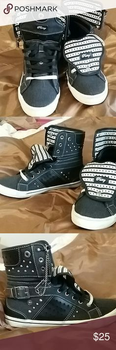 **NWOT** Pastry High tops Black and white with star design, chains and small spikes , fun and punk pastry Shoes Athletic Shoes