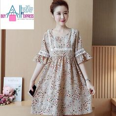 d8efef1c7b703 2017 Floral dress dress maternity dress Korean version of the horn sleeve  chiffon dress loose jacket