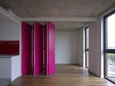 Image 12 of 30 from gallery of Stunning Accordion Doors Design as Home Interior Plans. Cozy pink accordion door wide glass window plus wooden floor then white wall design idea House Design, Door Design, Movable Walls, Folding Walls, Sliding Wall, Interior Wall Design, Walls Room, Magenta Walls, Moveable Wall