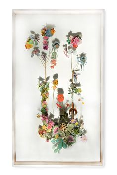 """Flower Constructions"", collages with cutouts from flowers pictures and pressed flowers, by Anne Ten Donkelaar."