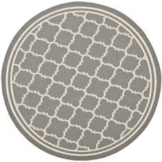 Safavieh Poolside Anthracite/ Beige Indoor Outdoor Rug (6'7 Round) (CY6918-246-7R), Grey (Olefin, Border)