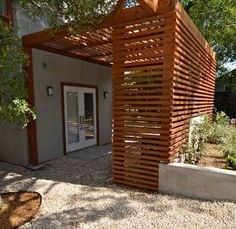 wood slats and pergola for entry privacy patriciaalberca. wood slats and pergola for entry priva Backyard Pergola, Backyard Landscaping, Pergola Ideas, Corner Pergola, Outdoor Pergola, Pergola Shade, Backyard Ideas, Gazebo, Outdoor Rooms