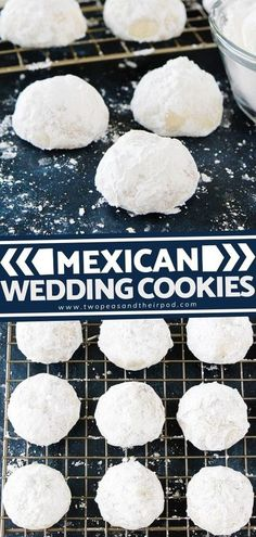 Mexican Wedding Cookies are buttery pecan cookies rolled in confectioners sugar, making them look just like snowballs. They are the perfect Christmas cookie! The cookies are buttery, crisp, and they� More Pecan Cookies, Pumpkin Cookies, Holiday Cookies, Chocolate Chip Cookies, Holiday Baking, Christmas Baking, Delicious Desserts, Dessert Recipes, Mexican Wedding Cookies
