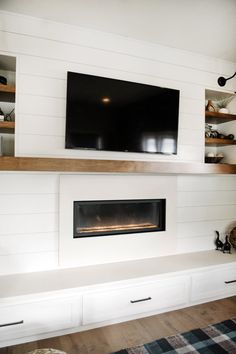 Stone And Shiplap Fireplace The Wood Beam And Stone