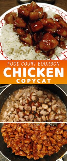 A copycat recipe for the bourbon chicken served at many food court Chinese restaurants. This may not be authentic Chinese food, but it is delicious. - The ingredients and how to make it please visit the website Recipes Using Cooked Chicken, Easy Chicken Dinner Recipes, Canned Chicken, Broccoli Recipes, Rice Recipes, Pasta Recipes, Crockpot Recipes, Authentic Chinese Recipes, Bourbon Chicken