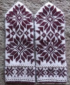 Crochet Mittens Pattern, Knit Mittens, Knitted Gloves, Knit Crochet, Knitting Stitches, Knitting Yarn, Free Knitting, Knitting Patterns Free, Fair Isle Knitting