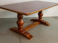 Reclaimed Wood Table With Tuscan Trestle   Farmhouse   Dining Tables    Boston   LakeandMountainHome