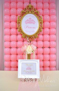 Love the balloon backdrop. Could be used for any theme by changing balloon colors and centerpiece Princess Theme Party, Disney Princess Party, Baby Shower Princess, Princess Birthday, Balloon Backdrop, Balloon Decorations, Balloons, Princesse Party, 3rd Birthday Parties