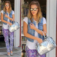 Love this look: Pair Printed Pants With Denim Vest like Jessica Alba