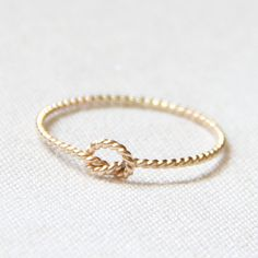 One Memory Knot Ring - Thread of Rope Gold Ring - Tiny Twist Textured Gold Filled Stacking Ring - Delicate Jewelry - Memory Ring