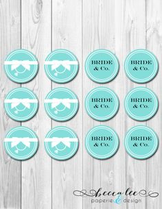INSTANT DOWNLOAD - Bride & Co. Cupcake Toppers - Tiffany Inspired Bridal Shower - DIY - Printable
