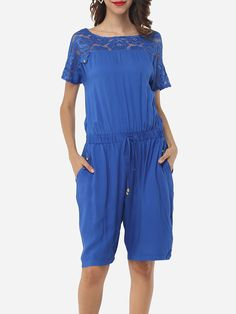 Hollow Out Lace Patchwork Plain Courtly Delightful Rompers