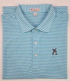 c5d554872162 Peter Millar Polo Shirt Large Summer Comfort Blue Striped White Mens Size  Golf