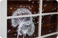 Hung on a blue wall. Whimsical Window Painting Dandelion Dust by audreygracephoto Window Signs, Window Art, Vintage Windows, Old Windows, Dandelion Painting, Shop Window Displays, Through The Looking Glass, Winter House, Blue Walls