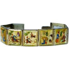 Vintage Persian Story Braclelet Hand Painted MOP available from The Vintage Carousel on Ruby Lane