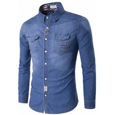 Cheap chemise homme, Buy Quality chemise homme fashion directly from China mens denim shirt Suppliers: Jeans Shirt Men New 2017 Spring Long Sleeve Casual Man Denim Shirts Fashion Male Jeans Shirts Pockets Slim Fit Chemise Homme Cotton Shirts For Men, Casual Shirts For Men, Men Casual, Denim Shirts For Men, Jean Shirt Men, Jean Shirts, Men's Shirts, Mens Clothing Styles, Men's Clothing