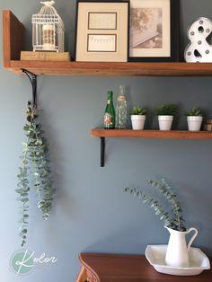 Tablettes bois recyclées eucalyptus wall decoration kolor atelier creation Atelier Creation, Eucalyptus, Floating Shelves, Creations, Decoration, Home Decor, Recycled Wood, Decorating, Homemade Home Decor