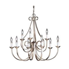 "View the Kichler 2031 Dover 9 Light 33"" Wide Candle-Style 2-Tier Chandelier at LightingDirect.com."