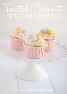 Easter cupcakes with toasted coconut and cadbury eggs