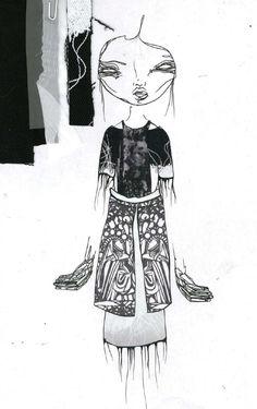 Fashion Sketchbook page - fashion illustration & swatches; graduate fashion portfolio // Louise Alsop