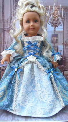 RESERVED LISTING for p.b. Marie Antoinette style French Gown for American Girl (18 inch)