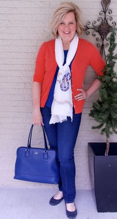 50 IS NOT OLD   SUNSHINE ON A CLOUDY DAY   FASHION OVER 40   Orange and Blue   Building an outfit around an accessory   Spring outfit   Fashion over 40 for the everyday woman