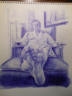 """foreshortening - Blue ballpoint pen drawing by Joanna Mann; """"Jerry Living It Up In San Francisco"""", Ap Drawing, Figure Drawing, Drawing Sketches, Painting & Drawing, Drawings, Ballpoint Pen Art, High School Art Projects, Observational Drawing, Ap Studio Art"""