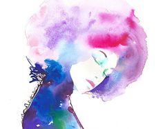 Fashion Illustration Print, impression de la mode, la mode aquarelle, croquis de mode, mode affiche, Afro, cheveux Rose, Cate Parr, Art de la mode