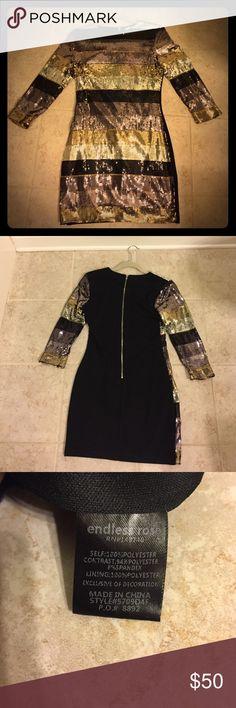 Sequin dress Vertical striped, multi color sequin mini dress Lotus Dresses Long Sleeve