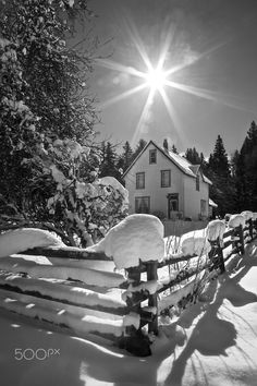 A lovely old farmhouse after the snow storm. Fraser Valley, Farmhouse, Snow, House Styles, Outdoor, Decor, Outdoors, Decoration, Rural House