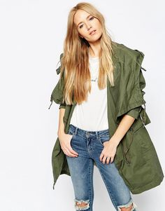 Image 1 ofASOS Parka with Waterfall and Storm Flap