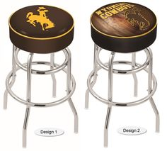 The NCAA officially licensed Wyoming Cowboys Bar Stool has a 4-inch cushion with a tough double-ring base and a chrome finish. Free shipping. Excellent quality. Visit sportsfansplus.com for details.