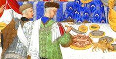 10. Les très riches heures du duc de Berry. Janvier. Devant la table, à gauche celui qui sert le pain (panetier) et à droite celui qui tranche la viande (l'écuyer tranchant) ..