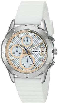 Fossil Women's ES4024 Modern Pursuit Chronograph White Silicone Watch -- Visit the image link more details.