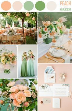 pale peach & neutral tones bridesmaids dresses. white/neutral & green bouquets with hint of peach. natural tones & greys grooms men. Overall: green, whites, neutral colors with hint of peach